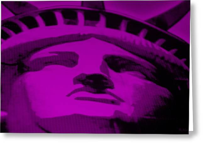 Statue Of Liberty In Purple Greeting Card by Rob Hans