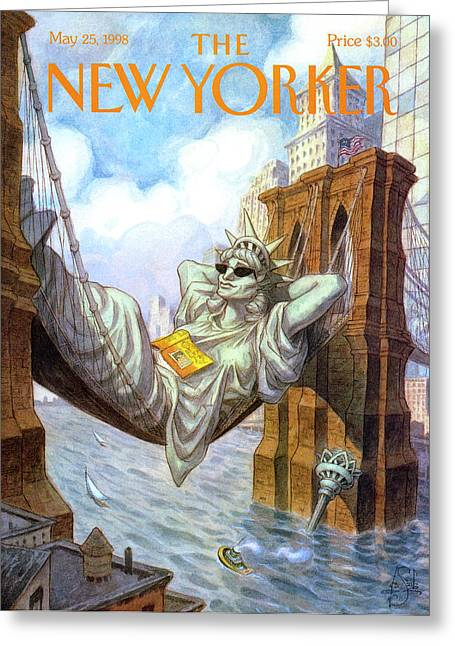 Statue Of Liberty Lounges Between The Brooklyn Greeting Card by Peter de Seve