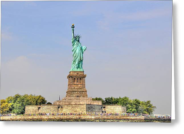 Statue Of Liberty Macro View Greeting Card by Randy Aveille