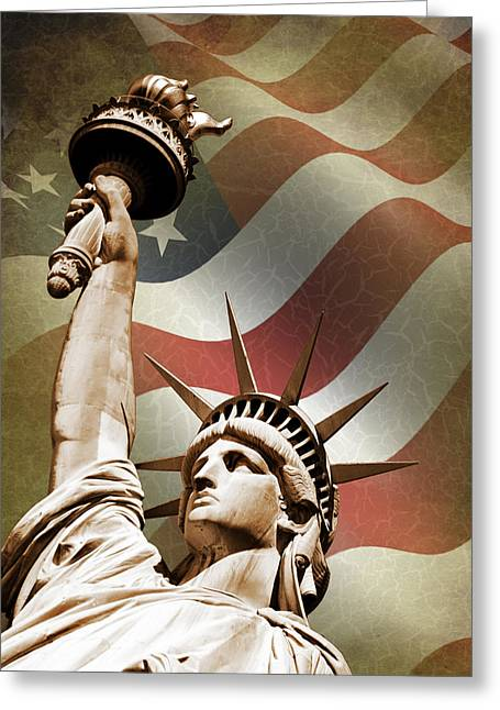 Statue Of Liberty Greeting Card by Mark Rogan