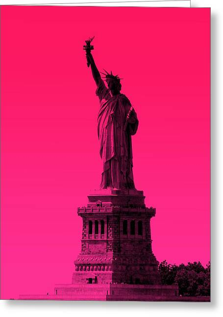 Statue Of Liberty - Pink Greeting Card