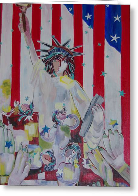 Statue Of Liberty/ Reaching For Freedom Greeting Card