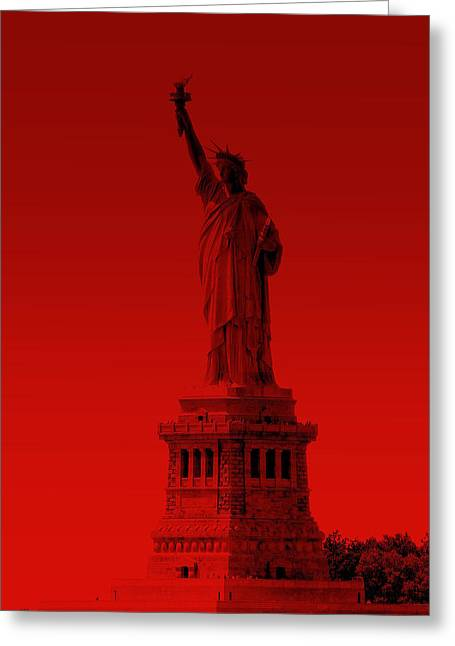 Statue Of Liberty - Red Greeting Card
