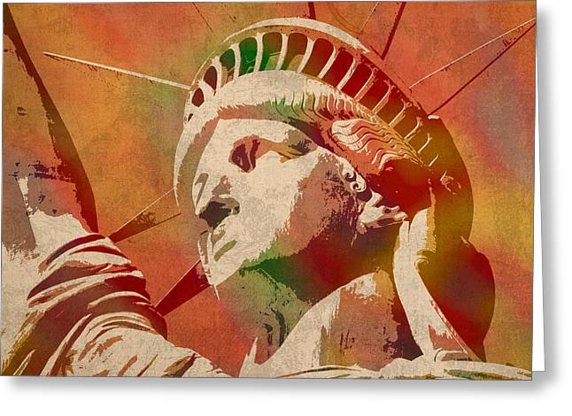 Statue Of Liberty Watercolor Portrait No 1 Greeting Card by Design Turnpike