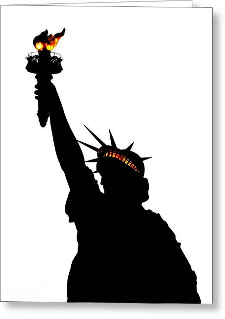 Statue Of Libery-silhouette Greeting Card by DerekTXFactor Creative