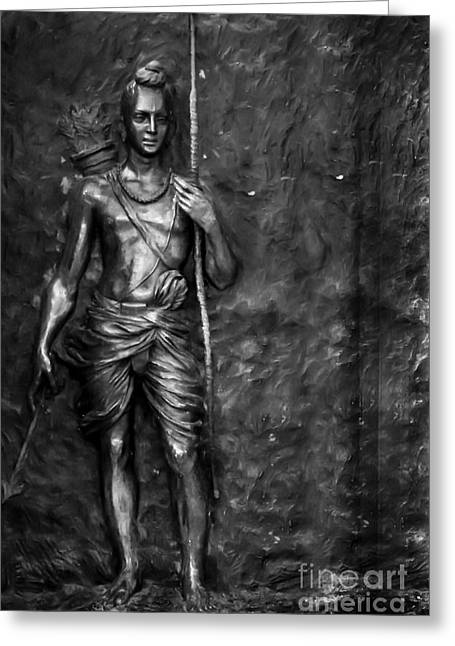 Statue Of Lord Sri Ram Greeting Card by Kiran Joshi