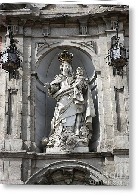 Statue Of Mary In Madrid Greeting Card