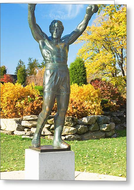 Statue Of Rocky Balboa In A Park Greeting Card by Panoramic Images
