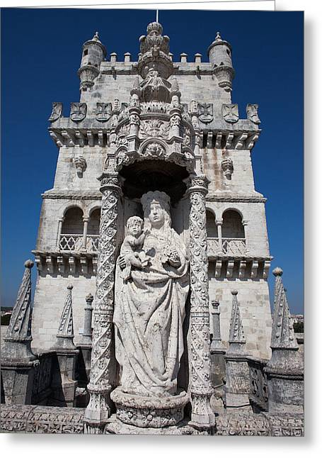 Statue Of St. Mary And Child At Belem Tower In Portugal Greeting Card