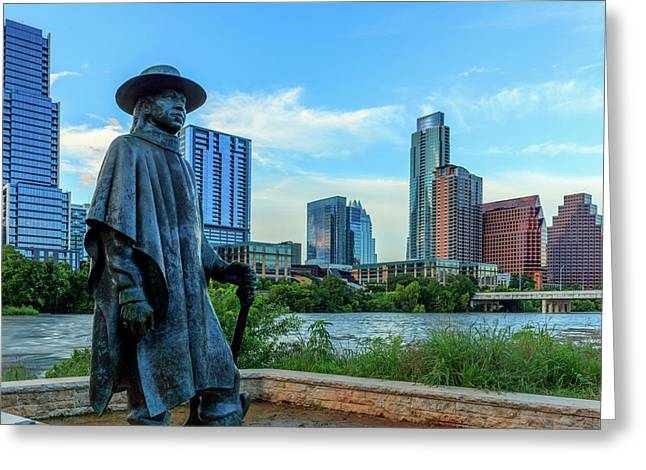Statue Of Stevie Ray Vaughan Greeting Card by Panoramic Images