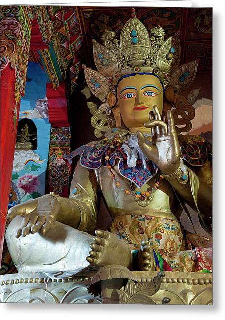 Statue Of The Buddha, Sangpi Luobuling Greeting Card by Howie Garber