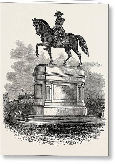Statue Of Washington At Boston, United States Of America Greeting Card by American School
