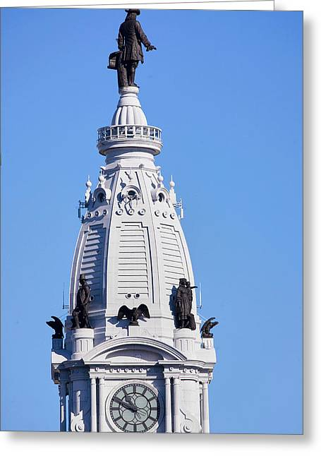 Statue Of William Penn High Atop City Greeting Card