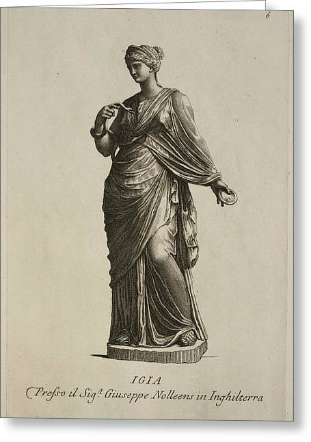 Statue Of Woman In Classical Robes Greeting Card by British Library