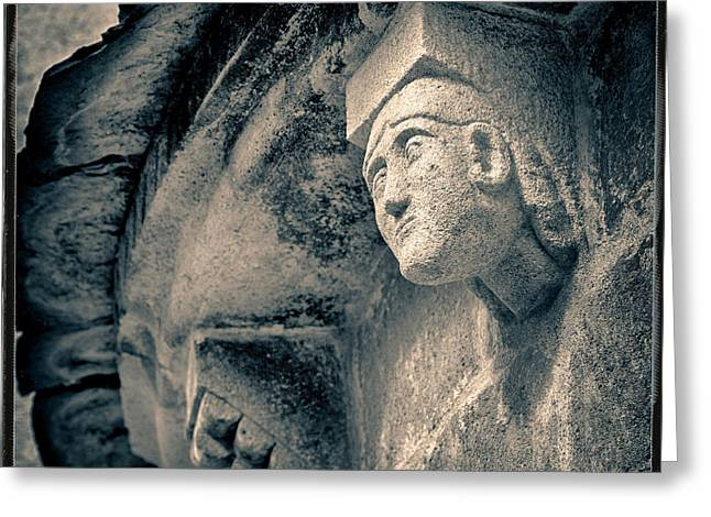 Statue On A Romanesque Church In Auvergne Greeting Card
