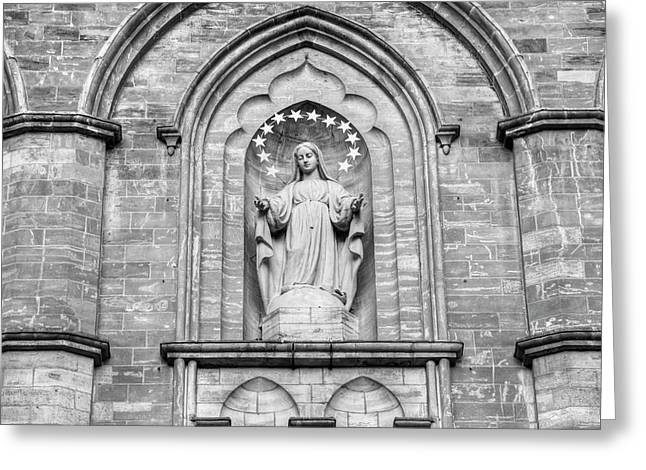 Statue On Facade Of Notre Dame Church Greeting Card by David Chapman