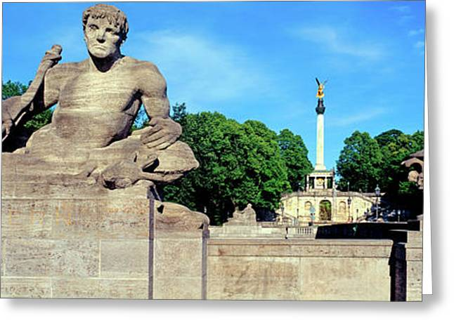 Statue On Luitpold Bridge And Angel Greeting Card by Panoramic Images