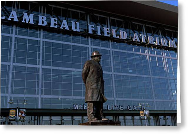 Statue Outside A Stadium, Lambeau Greeting Card by Panoramic Images