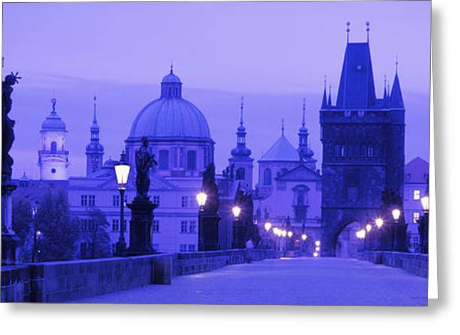 Statues Along A Bridge, Charles Bridge Greeting Card