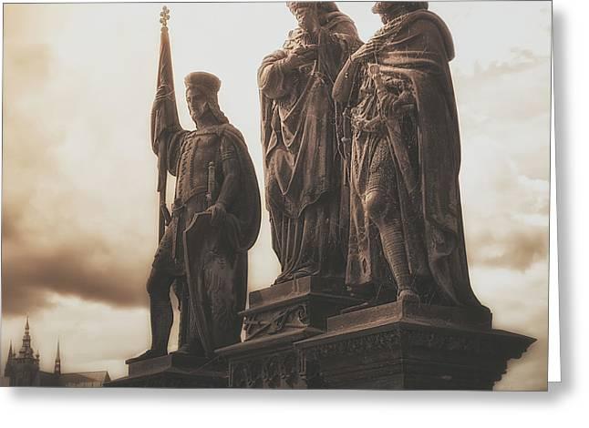 Statues Along Karl Bridge  Prague Greeting Card
