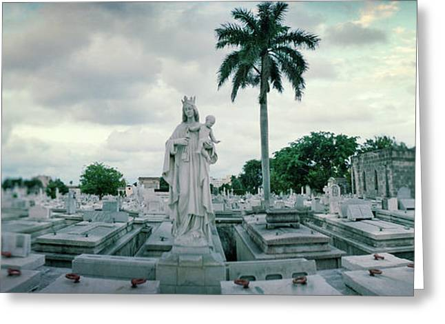 Statues Of Virgin And Child At Colon Greeting Card by Panoramic Images