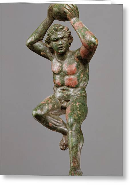Statuette Of A Giant Hurling A Rock Unknown 200 - 175 B Greeting Card by Litz Collection