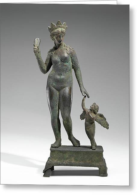 Statuette Of Aphrodite And Eros On A Base Unknown Probably Greeting Card by Litz Collection