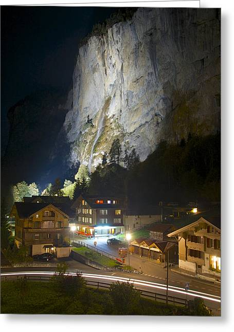 Staubbach Falls At Night In Lauterbrunnen Switzerland Greeting Card