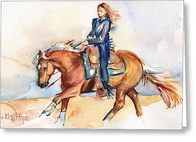 Palomino Horse Stay Gold Greeting Card by Maria's Watercolor