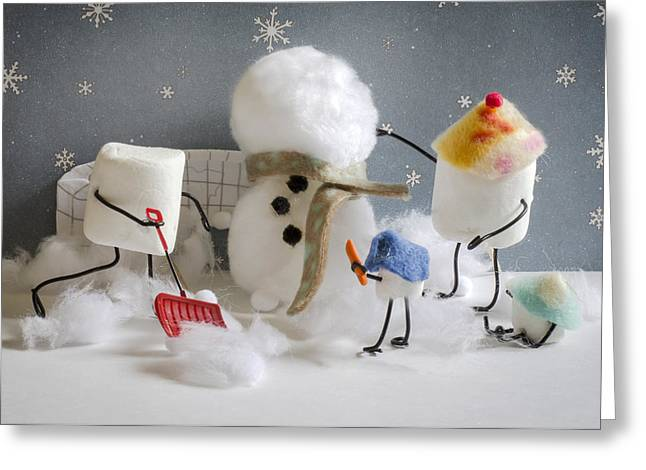 Stay Puff Snowman Greeting Card by Heather Applegate