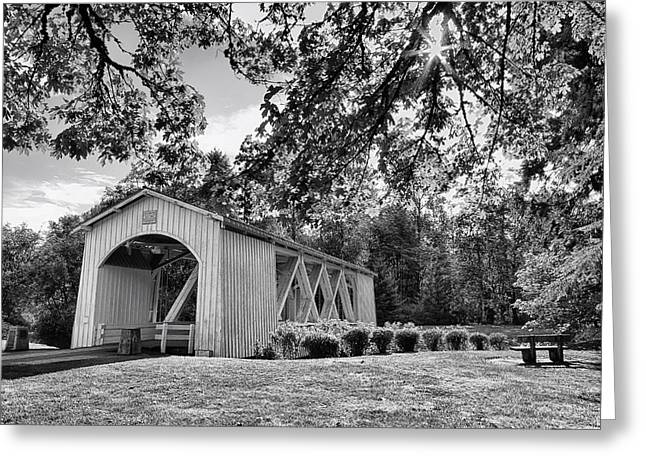 Stayton-jordan Covered Bridge Black And White Greeting Card by Mark Kiver