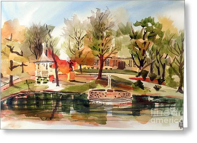Ste. Marie Du Lac With Gazebo And Pond I Greeting Card by Kip DeVore