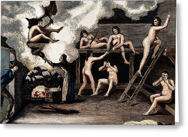 Steam Bath, 19th Century Greeting Card