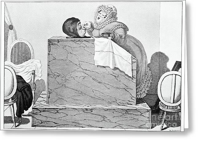 Steam Bath, Satirical Artwork Greeting Card