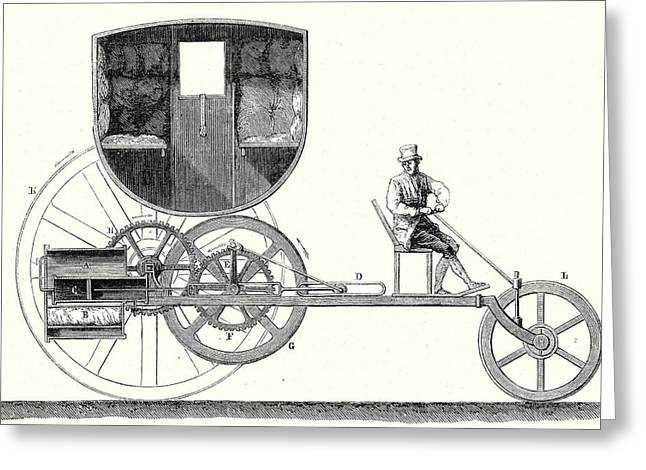 Steam Car Driving On Ordinary Roads Built In 1801 Greeting Card by Trevithick, Richard Trevithick (1771-1833) And Andrew Vivian (1759?1842), British