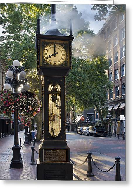 Steam Clock At Gastown Vancouver In The Morning Greeting Card