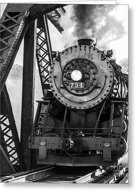 Steam Engine 734 Leaving The Narrows Greeting Card