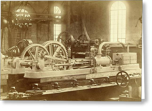 Steam Engine, Built By The Royal Factory Of Steam And Other Greeting Card by Artokoloro