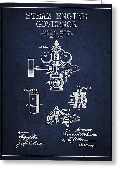 Steam Engine Governor Patent Drawing From 1880- Navy Blue Greeting Card