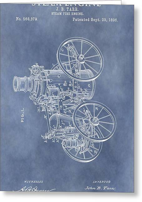 Steam Engine Patent Greeting Card by Dan Sproul