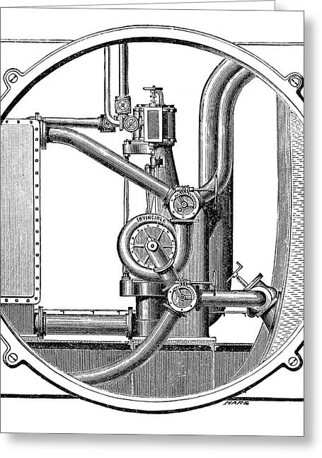 Steam Engine Pump Greeting Card by Science Photo Library