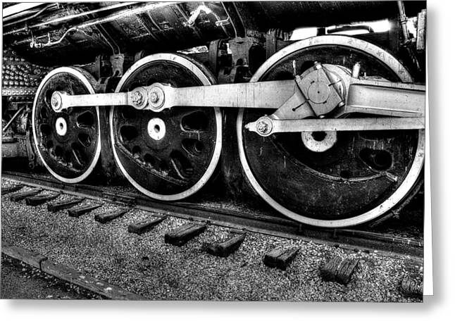 Steam Engine Wheels Greeting Card by Honour Hall