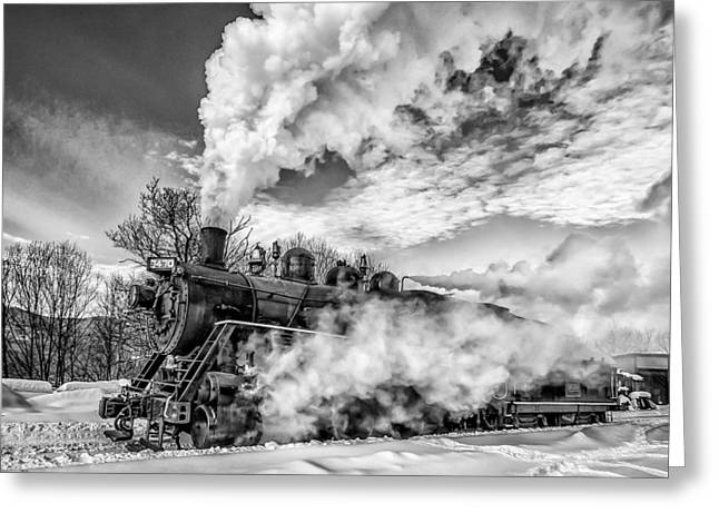Steam In The Snow Black And White Version Greeting Card