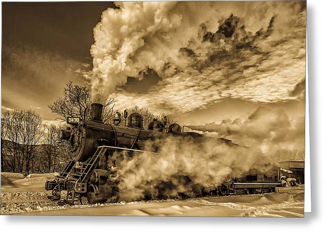 Steam In The Snow Greeting Card