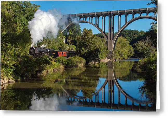 Steam In The Valley Greeting Card by Clint Buhler