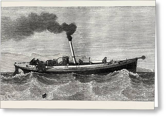 Steam-launch For The Cable-ship Faraday Greeting Card by English School