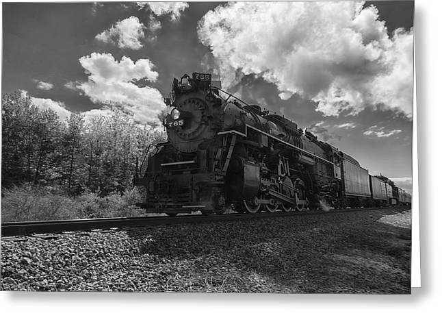 Steam Locomotive Passing Through Greeting Card
