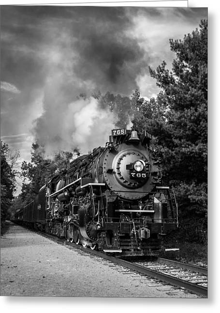 Steam On The Rails Greeting Card