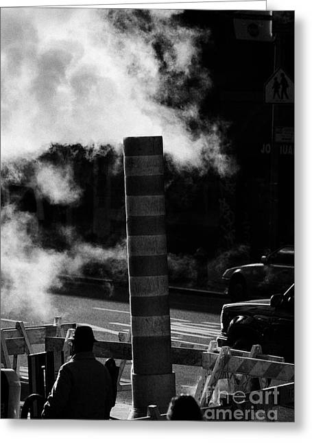Steam Pipe Vent Stack With Road Works And Pedestrians New York City Greeting Card