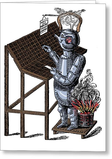 Steam Powered Compositor, 1884 Greeting Card